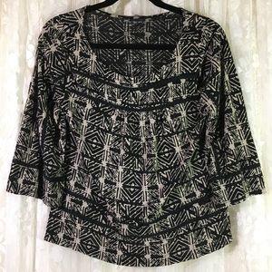Lucky Brand Black/Tan Blouse